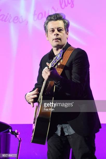Benjamin Biolay performs during 'La Ligue Contre Le Cancer' Celebrates Its 100th Anniversary at Cite des Sciences on March 14 2018 in Paris France