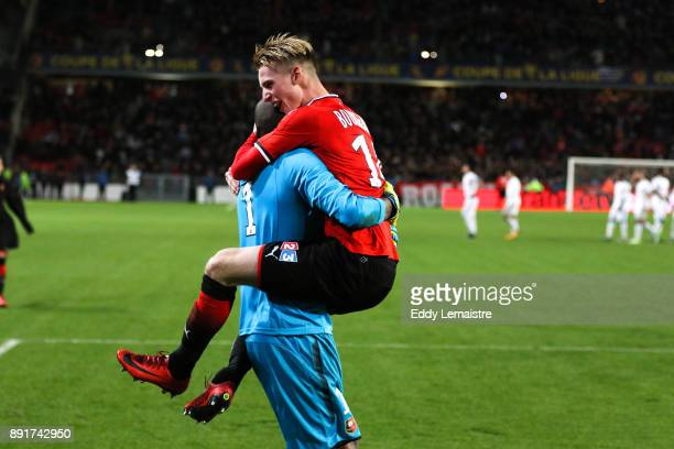 Benjamin Bourigeaud of Rennes celebrates with Abdoulaye Diallo Goalkeeper of Rennes after defeating Marseille during the french League Cup match...