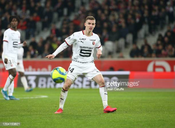 Benjamin Bourigeaud of Stade Rennais during the Ligue 1 match between Lille OSC and Stade Rennais at Stade Pierre Mauroy on February 4, 2020 in...