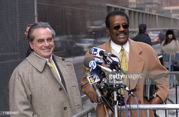 Benjamin Brafman Johnnie Cochran during Sean Puffy Combs Trial at Courthouse in New York City New York United States