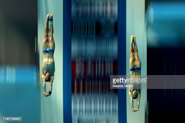 Benjamin Bramley and Steele Johnson of the United States compete in the Men's 10m Synchro Platform Final on day four of the Gwangju 2019 FINA World...