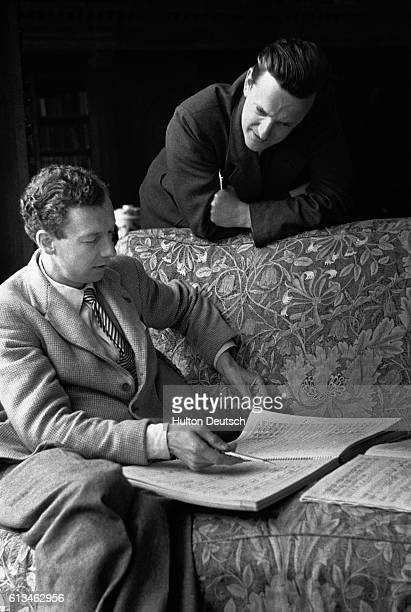 Benjamin Britten and the English tenor Sir Peter Pears during the rehearsals of Rape Of Lucretia | Location Glynbourne England UK