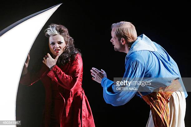 Benjamin Bruns as Tamino and Olga Pudova as the Queen of the Night perform in a dress rehearsal of Wolfgang Amadeus Mozart's opera 'The Magic Flute'...