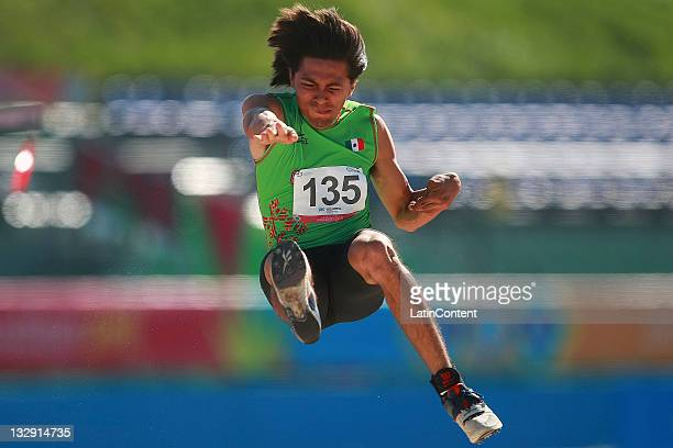 Benjamin Cardozo of Mexico competes in the Men's Long Jump F37/38 during Day 2 of the 2011 Para Pan American Games at Telmex Stadium on November 14...