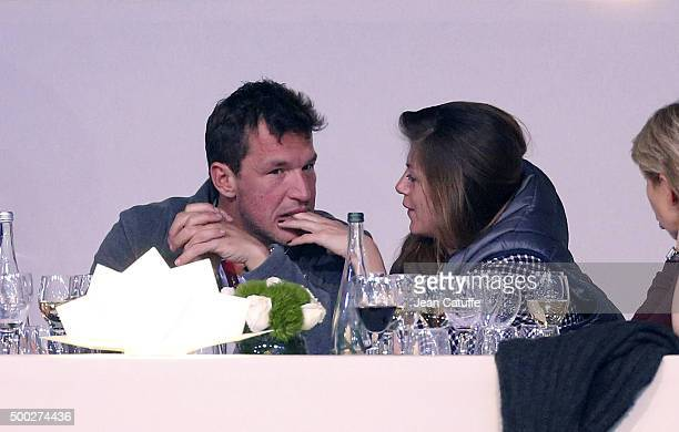 Benjamin Castaldi and his girlfriend Aurore Aleman attend day three of the Longines Paris Masters 2015 held at the ParisNord Villepinte Exhibition...