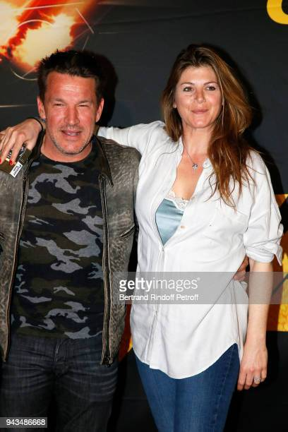 Benjamin Castaldi and his wife Aurore Aleman attend Taxi 5 Paris Premierere at Le Grand Rex on April 8 2018 in Paris France