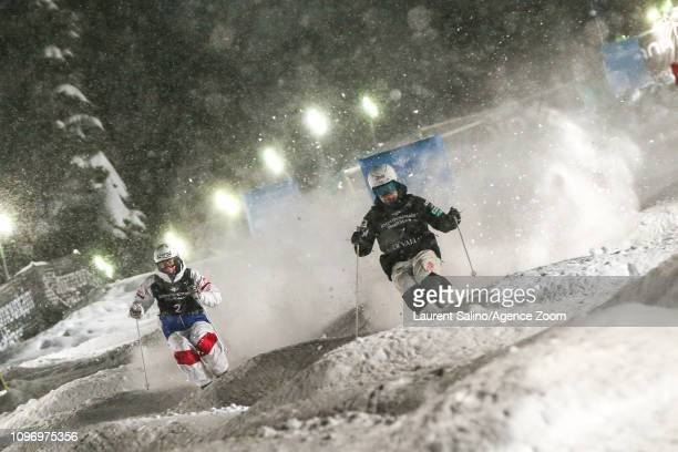 Benjamin Cavet of France competes Daichi Hara of Japan wins the bronze medal during the FIS World Freestyle Ski Championships Men's and Women's Dual...