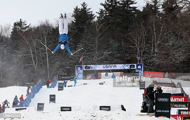 Benjamin Cavet of France competes in the USANA Freestyle World Cup Moguls competition at Whiteface Mountain on January 17 2013 in Lake Placid New York