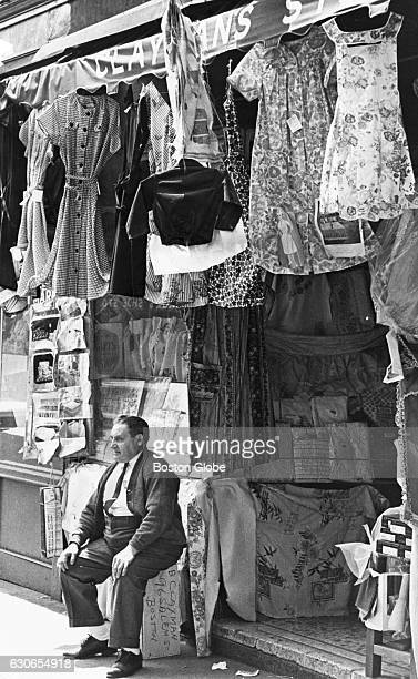 Benjamin Clayman sits outside his 45yearold dry goods store at 96 Salem St in Boston's North End on May 21 1963
