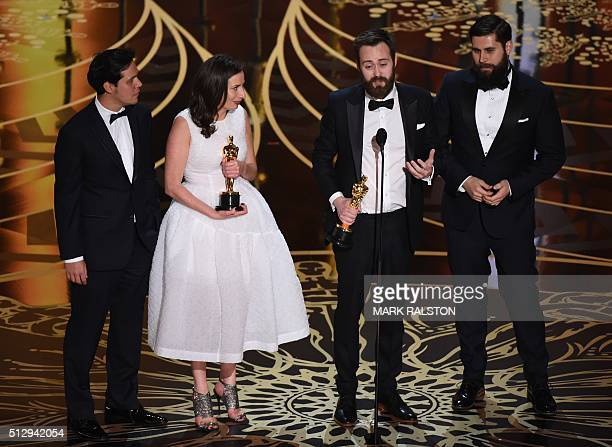 Benjamin Cleary and Serena Armitage and crew accept their award for Best Short Film, Live Action, Stutterer on stage at the 88th Oscars on February...