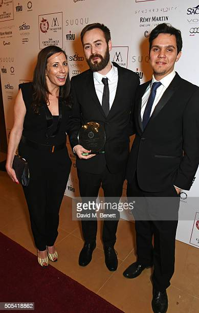 """Benjamin Cleary , winner of the British/Irish Short Film of the Year award for Stutterer"""", poses in front of the Winners Boards at The London..."""