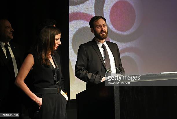 """Benjamin Cleary, winner of the British/Irish Short Film of the Year award for Stutterer"""", speaks onstage at The London Critics' Circle Film Awards at..."""