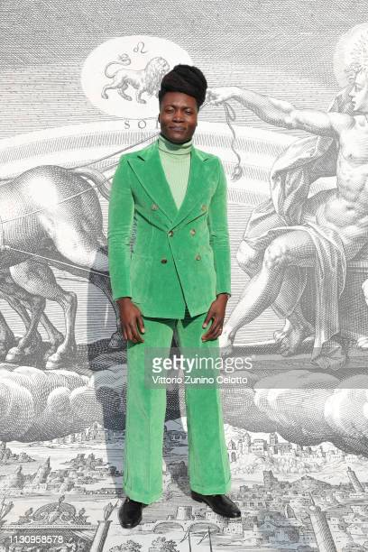 Benjamin Clementine arrives at the Gucci show during Milan Fashion Week Autumn/Winter 2019/20 on February 20 2019 in Milan Italy