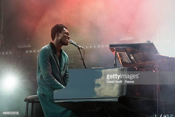 Benjamin Clementine performs during day 1 of Rock En Seine Festival at Domaine National de SaintCloud on August 28 2015 in Paris France