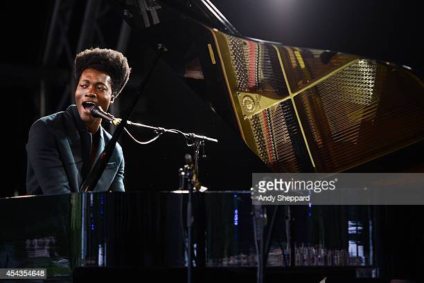 Benjamin Clementine performs on stage at End Of The Road Festival 2014 at Larmer Tree Gardens on August 29 2014 in Salisbury United Kingdom