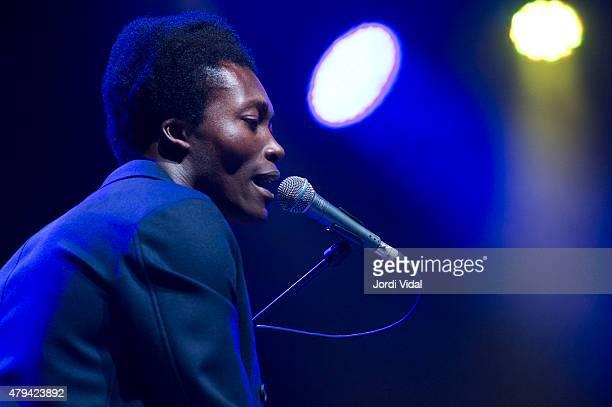 Benjamin Clementine performs on stage at Masia D'en Cabanyes on July 4 2015 in Vilanova i la Geltru Spain