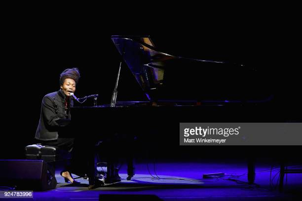 Benjamin Clementine performs onstage at NETAPORTER and MR PORTER partner with Letters Live on February 26 2018 in Los Angeles California