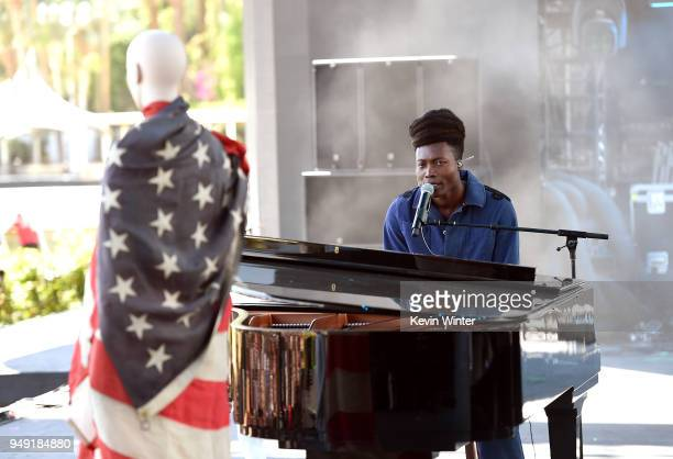 Benjamin Clementine performs onstage during the 2018 Coachella Valley Music And Arts Festival at the Empire Polo Field on April 20 2018 in Indio...