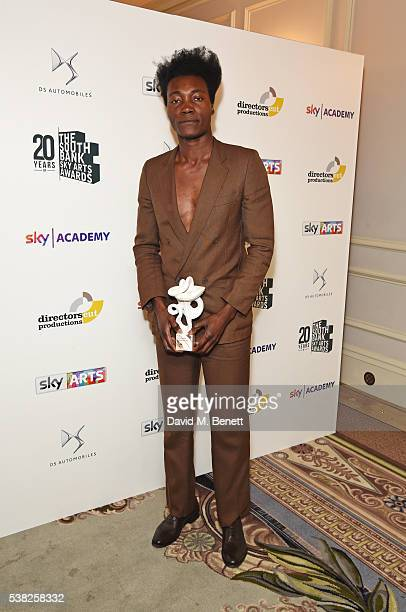 Benjamin Clementine winner of the Pop award for At Least For Now poses in the Winner's Room at the The South Bank Sky Arts Awards airing on Wednesday...