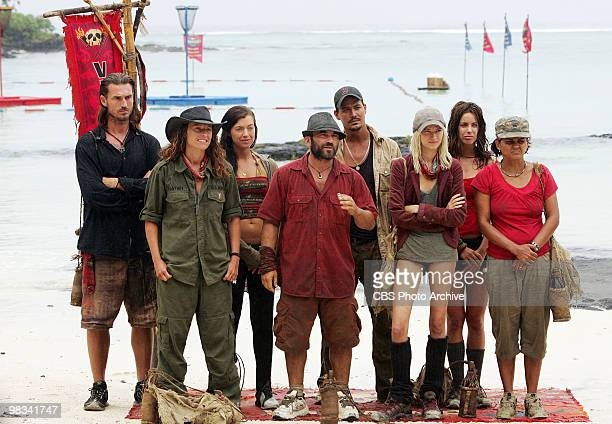 Benjamin Coach Wade Jerri Manthey Parvati Shallow Russell Hantz Rob Mariano Courtney Yates Danielle DiLorenzo and Sandra Diaz during the reward...