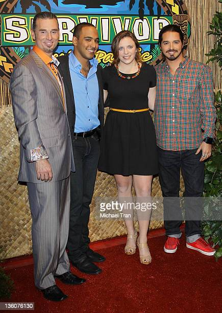 Benjamin Coach Wade Sophie Clarke Albert Destrade and Ozzy Lusth arrive at the Survivor South Pacific finale held at CBS Television City on December...
