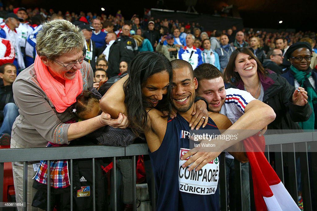 Benjamin Compaore of France celebrates with his family after winning gold in the Men's Triple Jump final during day three of the 22nd European Athletics Championships at Stadium Letzigrund on August 14, 2014 in Zurich, Switzerland.