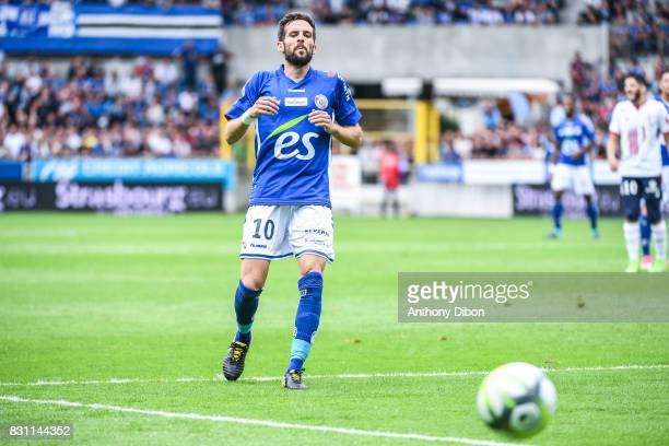 Benjamin Corgnet of Strasbourg during the Ligue 1 match between Racing Club Strasbourg and Lille OSC at Stade de la Meinau on August 13 2017 in...