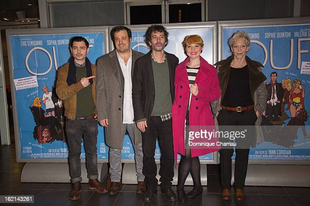 Benjamin Cotto French Director Yann Coridian French actor Eric Emmosnino Fench singer Luce and producer Tonie Marshall attend the 'Ouf' Premiere at...