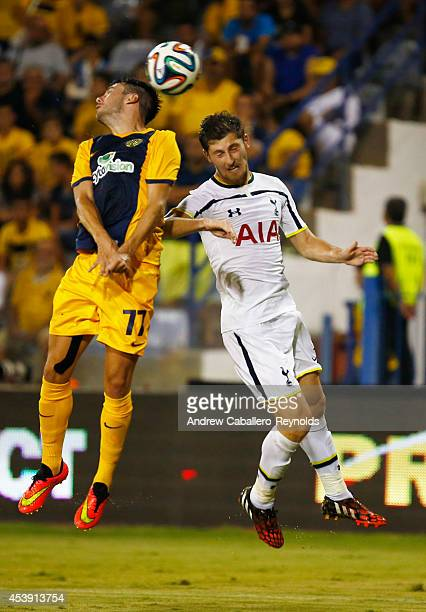 Benjamin Davies from Tottenham Hotspur fights for the ball with Adrian Sareindro Corpa from AEL Limassol FC during the AEL Limassol FC v Tottenham...