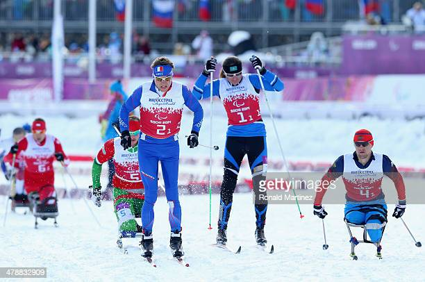 Benjamin Daviet of France competes in the Mixed 4 x 25km Relay CrossCountry Skiing event during day eight of Sochi 2014 Paralympic Winter Games at...