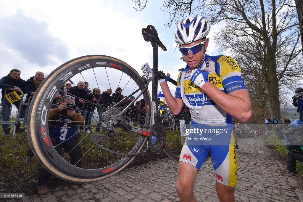 Benjamin Declercq of Belgium and Team Sport Vlaanderen - Baloise / Mechanical Problem / Koppenberg / during the 102nd Tour of Flanders 2018 - Ronde Van Vlaanderen a 264,7km race from Antwerpen to Oudenaarde on April 1, 2018 in Oudenaarde, Belgium.
