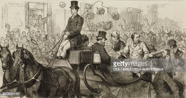 Benjamin Disraeli 1st Earl of Beaconsfield outside Charing Cross Railway Station after the Congress of Berlin London United Kingdom illustration from...