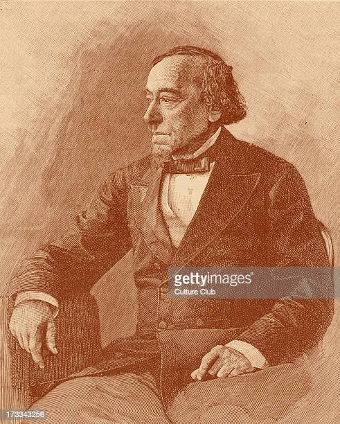 Benjamin Disraeli 1st Earl of Beaconsfield portrait after photograph British Prime Minister parliamentarian Conservative statesman and literary...