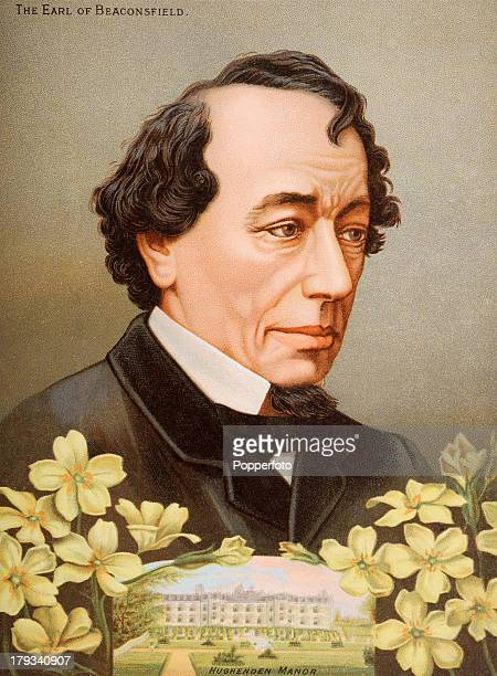 Benjamin Disraeli First Earl Beaconsfield British Prime Minister during the reign of Queen Victoria with an illustration of his home Hughenden Manor...