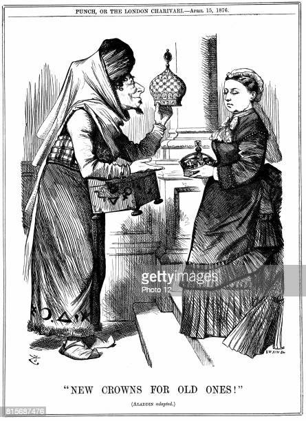 Benjamin Disraeli offering the crown of India to Queen Victoria She was proclaimed Empress of India on l May 1876 John Tenniel cartoon from Punch...