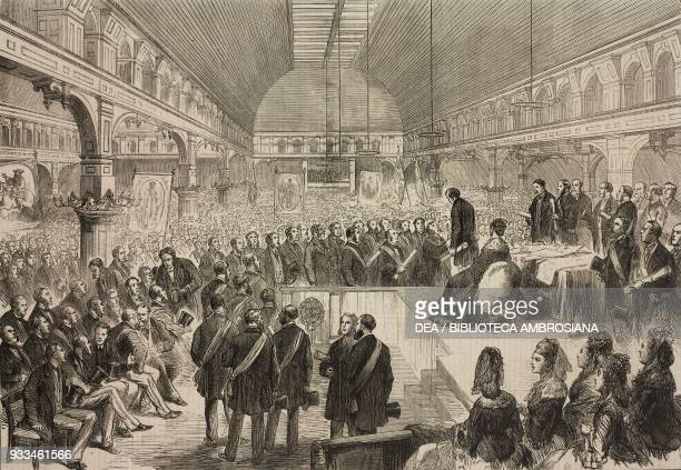 Benjamin Disraeli receiving addresses in the Great Hall of Pomona Gardens, Manchester, United Kingdom, illustration from the magazine The Illustrated...