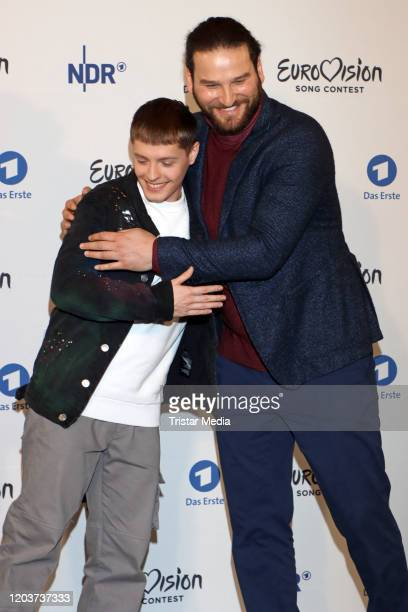 Benjamin Dolic and Boris Milanov attend the Unser Lied fuer Rotterdam photo call at ASTOR Film Lounge HafenCity on February 27 2020 in Hamburg Germany