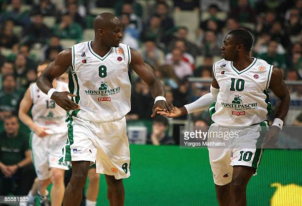 Benjamin Eze, #8 and Romain Sato, #10 of Montepaschi Siena celebratesBenjamin Eze, #8 and Romain Sato, #10 of Montepaschi Siena during the Play off...