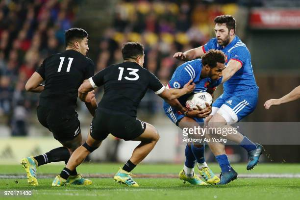 Benjamin Fall of France on the charge against Anton LienertBrown of the All Blacks during the International Test match between the New Zealand All...