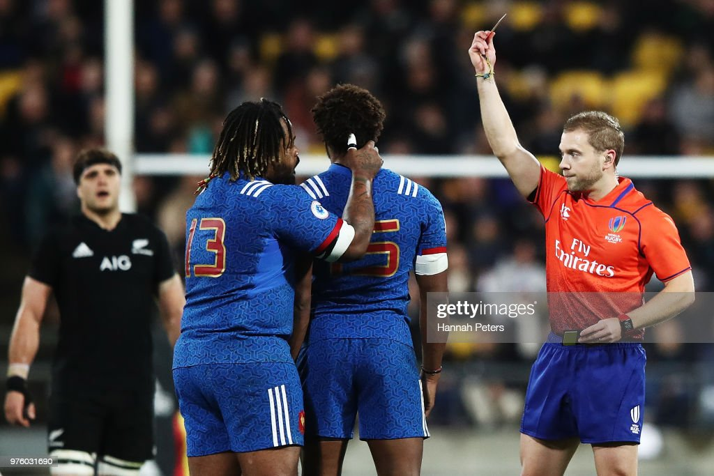 Benjamin Fall of France receives a red card during the International Test match between the New Zealand All Blacks and France at Westpac Stadium on June 16, 2018 in Wellington, New Zealand.
