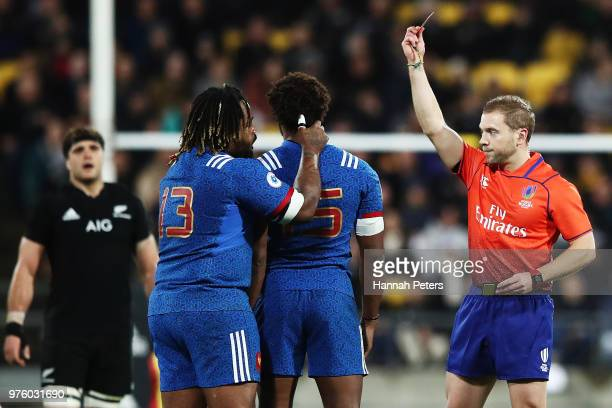 Benjamin Fall of France receives a red card during the International Test match between the New Zealand All Blacks and France at Westpac Stadium on...
