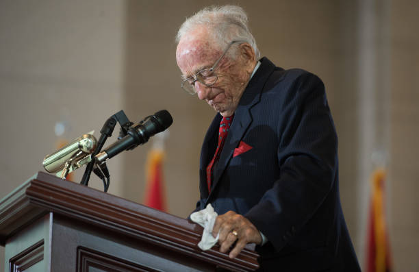 Benjamin Ferencz, prosecutor at the Nuremberg war trials, speaks during the Annual Days of Remembrance Ceremony to honor the victims of the Holocaust...