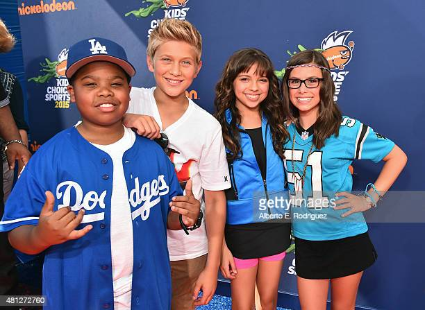 Benjamin Flores Jr Thomas Kuc Cree Cicchino and Madisyn Shipman attend the Nickelodeon Kids' Choice Sports Awards 2015 at UCLA's Pauley Pavilion on...