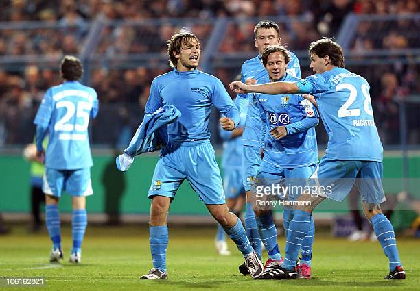 Benjamin Foerster of Chemnitz celebrates his teams first goal during the DFB Cup second round match between Chemnitzer FC and VfB Stuttgart at the...
