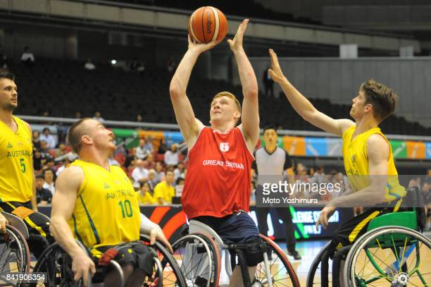 Benjamin Fox of Great Britain shoots during the Wheelchair Basketball World Challenge Cup match between Australia and Great Britain at the Tokyo...