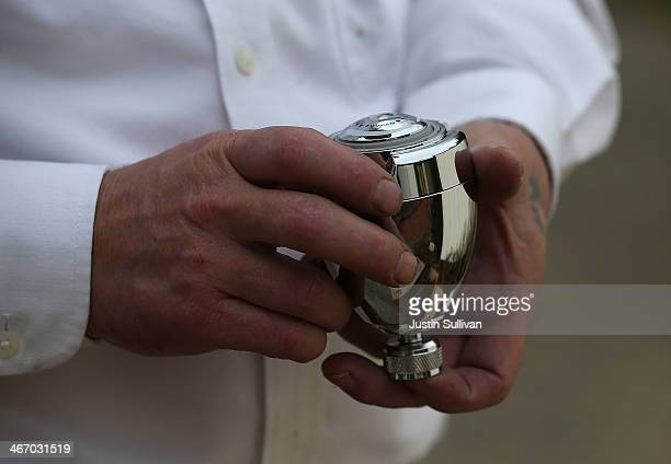 Benjamin Franklin Plumbing technician Todd Snider holds a low flow shower head at a home on February 5 2014 in Novato California Californians are...