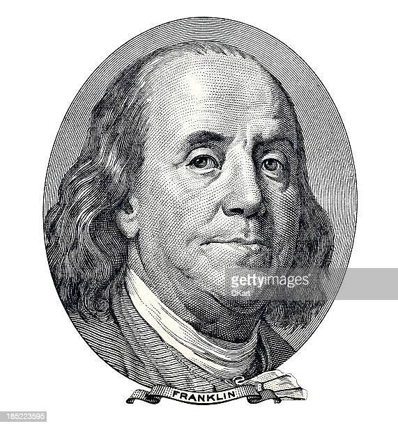 benjamin franklin portrait - american one hundred dollar bill stock pictures, royalty-free photos & images
