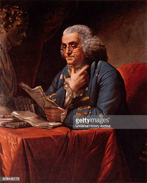 Benjamin Franklin Reading Portrait Painting by David Martin 1767
