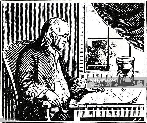 Benjamin Franklin writing his Autobiography American Founding Father January 17 1706 [OS January 6 1705] – April 17 1790