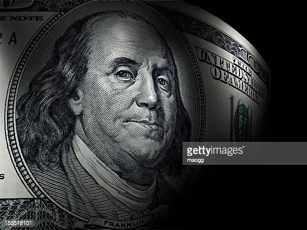 Benjamin Franklin's close up in a hundred dollar bill